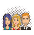 three women and man portrait pop art comic style vector image