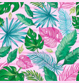 tropic palm leaf seamless pattern tropical nature vector image vector image