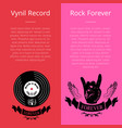 vinyl record and rock forever banners with text vector image