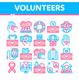 volunteers support thin line icons set vector image vector image