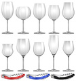 Wine glasses and can openers vector image vector image