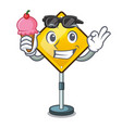 with ice cream warning attention sign shaped vector image vector image