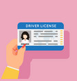 woman hand hold car driver license female vector image vector image