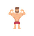 young muscular bearded man flat fitness icon vector image vector image