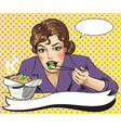 pop art of woman eating vector image
