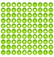 100 viral marketing icons set green circle vector image
