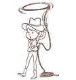A plain sketch of a cowgirl vector image vector image