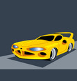 a yellow sportcar on a race track vector image