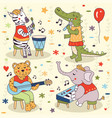 animals band party music sing concert set vector image vector image