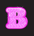 B letter pink bling girly vector image vector image