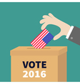 Ballot Voting box Businessman holding American vector image vector image