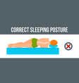 bed sleeping posture banner horizontal flat style vector image