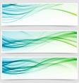 Bright eco swoosh line header web set vector image