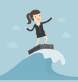 businessman surfing on wave vector image vector image