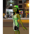 cartoon girl with the camera is lit street vector image vector image