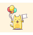 color bcharacter cat with flag and balloo vector image vector image