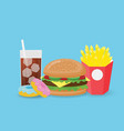 creative fast food isolated on blue background vector image