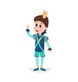 cute cartoon boy character in prince costume with vector image vector image
