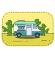 cute retro food truck in desert in vector image vector image