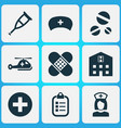 drug icons set collection of cap nanny cure and vector image vector image