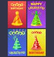 festive cone cap happy birthday postcard vector image