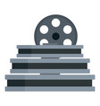 film reel stack icon flat style vector image vector image