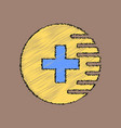 flat shading style icon medical cross vector image vector image