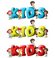 Font design for word kids in three colors vector image vector image