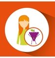 girl cartoon and grape cute fruit icon vector image vector image