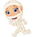 happy kid wearing mummy costume vector image vector image
