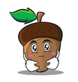 hugging acorn cartoon character style vector image vector image