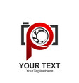 Initial letter p logo template colored red camera