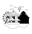 line mechanical horse ride and air balloon vector image