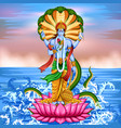 lord vishnu standing on lotus giving blessing vector image