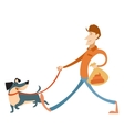 Man with its dog and a bag for gogs poop vector image