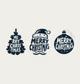 merry christmas label set xmas holiday symbol vector image
