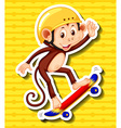 Monkey with helmet on playing skateboard vector image