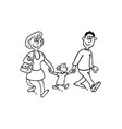 parents with children outlined cartoon handrawn vector image