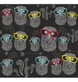 Party seamless pattern with cute owls in colorful vector image vector image