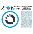 Pie Chart Icon with 1000 Medical Business Symbols vector image