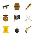 pirates armor icon set flat style vector image vector image