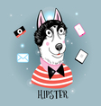 portrait of a wolf hipster vector image vector image