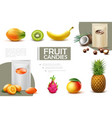 realistic sweet fruit candies composition vector image vector image