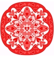 red abstract Zentangle heart mandala vector image