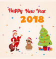 santa claus and funny dog new year vector image vector image