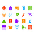sauna equipment color silhouette icons set vector image