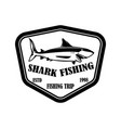 sea fishing emblem template with shark fish vector image vector image