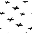 Seamless pattern with black sketch crows on