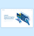 seo optimization isometric landing page banner vector image