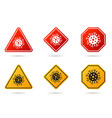 set coronavirus road sign corona virus vector image